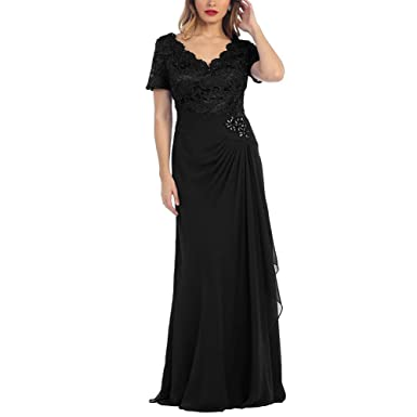H.S.D Women\'s V Neck Mother of The Bride Dress Short Sleeve Long ...