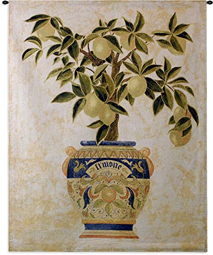 Bronze Feather Tapestry - Italian Lemon Tree by Gloria Erickson | Woven Tapestry Wall Art Hanging | Ripe Citrus Tree in Mosaic Patterned Decorative Pot | 100% Cotton USA Size 53x43