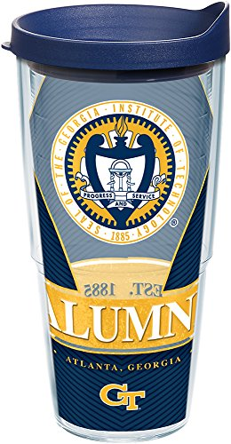 Tervis 1222750 Georgia Tech Yellow Jackets Alumni Tumbler with Wrap and Navy Lid 24oz, Clear (Georgia Beverage Tech)
