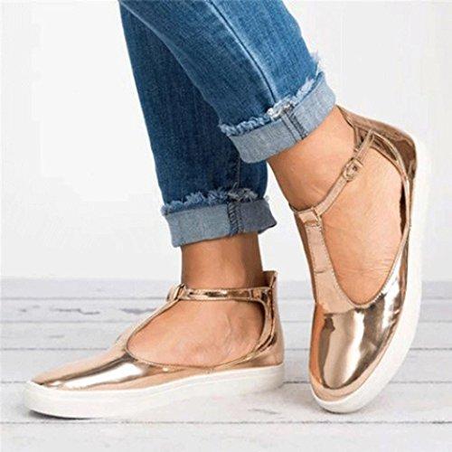 Sandales Plate Été Plat forme Rome Femmes Chaussures Jiangfu Talon Pantoufles Or Rondes Sangle Dehors Vintage Femme Casual Boucle Orteil qwRvBfEfx5