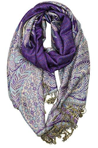 Achillea Luxurious Big Paisley Jacquard Layered Woven Pashmina Shawl Wrap Scarf Stole (Purple)