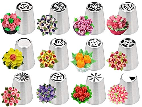 Russian Piping Tips Set, Wowdecor 24pcs Cake Cupcake Decorating Supplies Kit, Icing Nozzles Flowers Shaped, Frosting Bags and Tips Baking ()