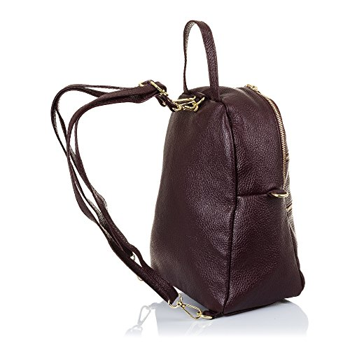 FIRENZE ARTEGIANI.Mochila de mujer casual piel auténtica.Bolso mochila cuero genuino,piel Dollaro,tacto suave.DAY PACK casual. MADE IN ITALY. VERA PELLE ITALIANA. 22x27x13 cm. Color: GRANATE