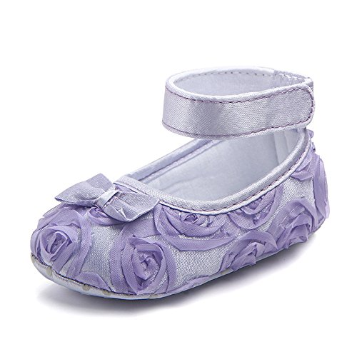 Baby Girls Toddler Shoes Rose Lace Bow Soft Sole Newborn Princess Shoes (11cm(0-6months), Purple) (Shoes Purple Baby)