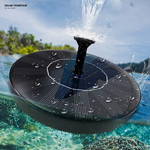 - Solar Fountain Pump,New Upgraded Mini Solar Powered Bird Bath Fountain Pump 1.4W Solar Panel Kit Water Pump,with 4 Different Spray Pattern Heads, for Pond, Pool, Garden, Fish Tank, Aquarium