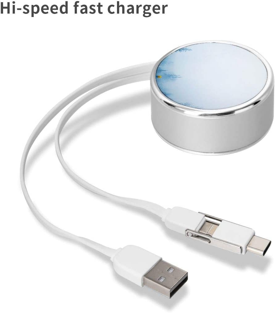 Round USB Data Cable Charging Cable Can Be Charged and Data Transmission Synchronous Fast Charging Cable-Man Wearing Blue Jacket Beside Pine Trees During Daytime