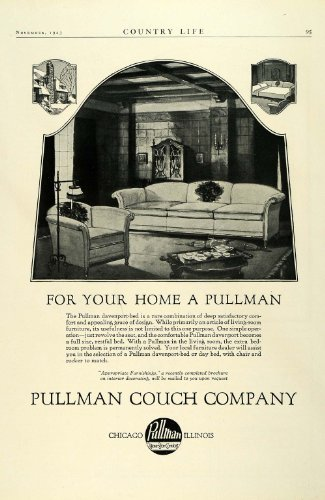 1923 Ad Antique Pullman Couch Davenport Pullout Bed Transitional Furniture Chair - Original Print Ad