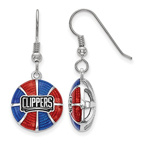FB Jewels Solid Sterling Silver Los Angeles Clippers Enameled Basketball Dangle Earrings