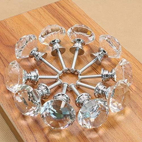 Lot de 20/boutons de porte/// poign/ées de meuble en verre transparent avec vis 30/mm Clarmonde