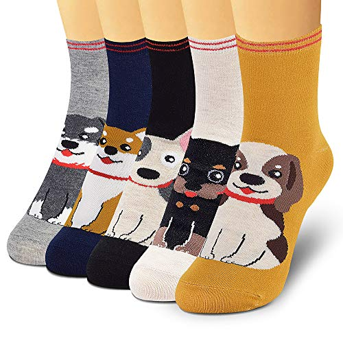 SUNWIND 5 Pairs Casual Animal Cartoon Socks Cute Cotton Socks Novelty Warm Socks for Girls and Women.Gifts for Women(4-7 UK)