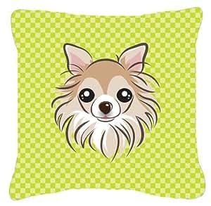 Tablero de ajedrez verde lima Chihuahua tela de lona almohada decorativa–BB1313PW1818