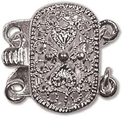 Silver Plate 9 x 14mm Push Pull Two Strand Clasp with Jumprings