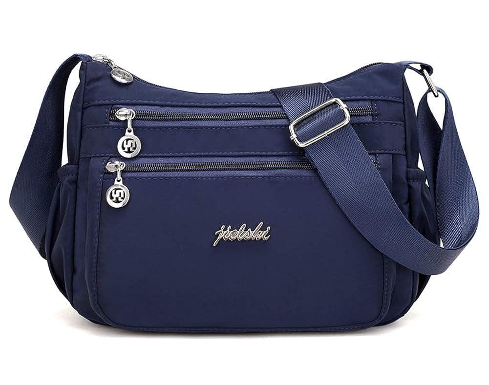 bluee Collsants Nylon Crossbody Purse for Women Travel Shoulder Bag Multi Pocket Water Resistant