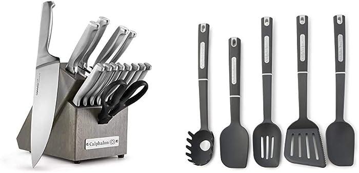 Calphalon Classic Self-Sharpening Stainless Steel 15-piece Knife Block Set & 5-Piece Nylon Kitchen Cooking Utensil Set
