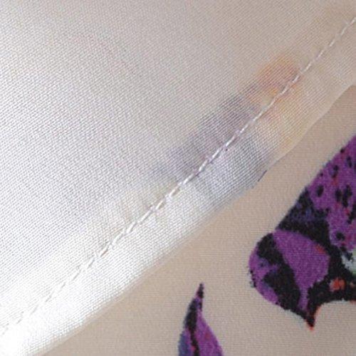 VOBAGA Mujeres Pájaro Corazón Impresión Manga corta Gasa de la Camiseta Blusas bird pattern
