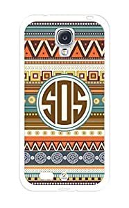 iZERCASE Monogram Personalized Aztec Pattern with Turquoise Circle RUBBER Samsung Galaxy S4 Case - Fits Samsung Galaxy S4 T-Mobile, AT&T, Sprint, Verizon and International (White)