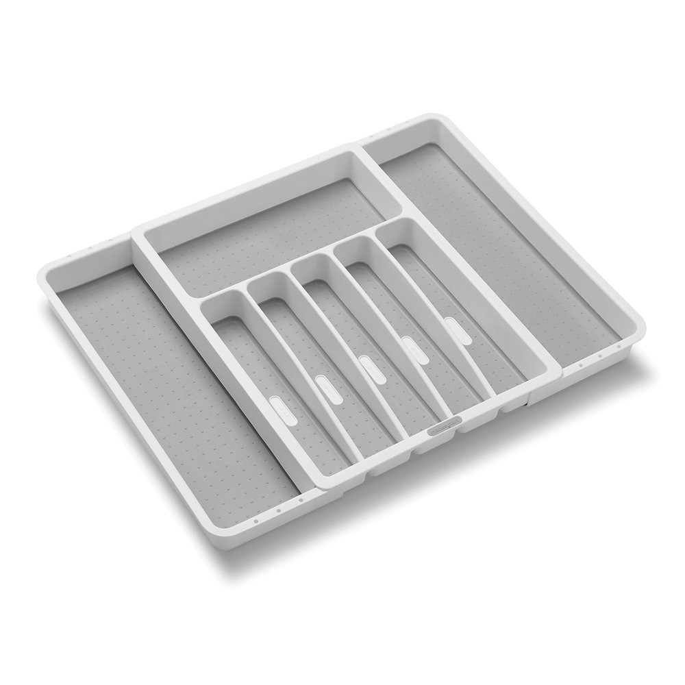Madesmart Expandable Silverware Tray-White | Classic Collection | 8-Compartments | Icons to Help sort Flatware, Cutlery, Utensils | Soft-Grip Lining | BPA-Free by madesmart