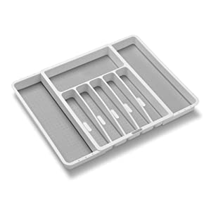 Madesmart Expandable Silverware Tray-White   Classic Collection   8-Compartments   Icons to Help sort Flatware, Cutlery, Utensils   Soft-Grip Lining   BPA-Free