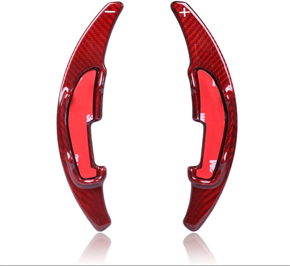 Topsmart Carbon Fiber Car Steering Wheel Shift Blade Paddle Shifter Extension For BMW M2 M3 M4 M5 M6 X5M X6M Red