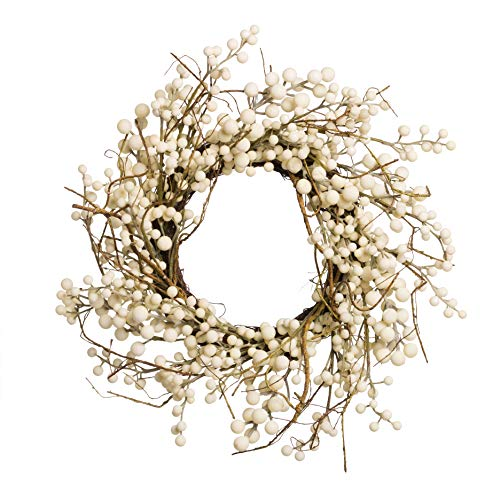 - White Berry and Branches Wreath 18 Inches Fall Autumn Harvest Winter Farmhouse