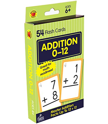 Carson Dellosa - Addition Flash Cards Facts 0 to 12 - 54 Cards with 100 Problems for 1st and 2nd Grade Math, Ages 6+ with Bonus Game Card