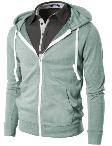 H2H Mens Fashion Slim Fit Lightweight Long Sleeve Hoodie With Various Pastel Colors