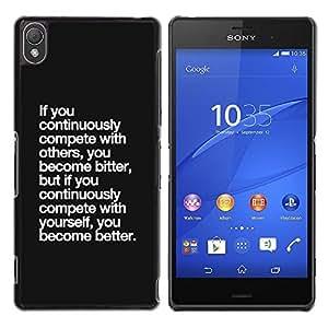 Be Good Phone Accessory // Dura Cáscara cubierta Protectora Caso Carcasa Funda de Protección para Sony Xperia Z3 D6603 / D6633 / D6643 / D6653 / D6616 // Black Text Motivational Post