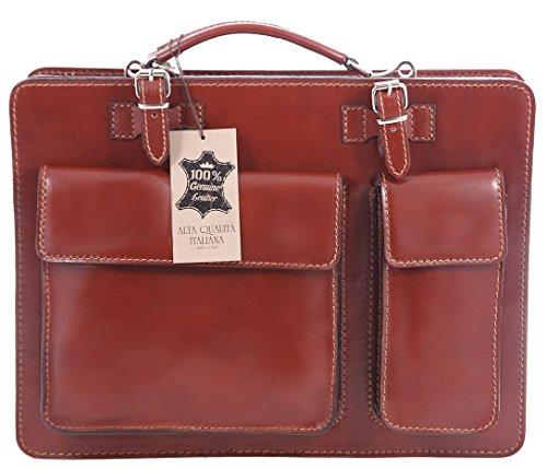 Bolsa de Hombre trabajo, Caja italiana, y Documento Organizador, 100% cuero auténtico Made in Italy Brown