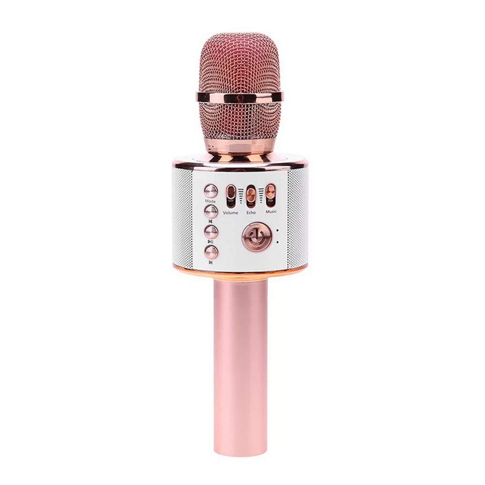 Ruiting Tragbare Bluetooth Mikrofon Wireless Karaoke Mikrofon Lautsprecher für Singen Party Musik Wiedergabe mit Akku Rose Gold Zubehör für Musikinstrumente