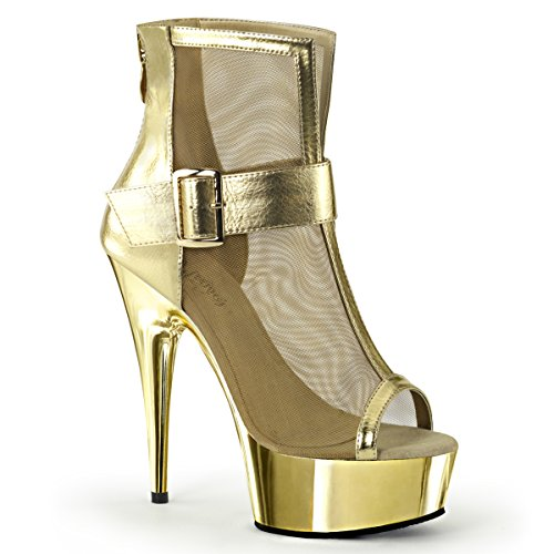 Pleaser Womens DELIGHT-600-23 Boots, Gold Metallic PU-Mesh/Gold Chrome, Size - 5 ()