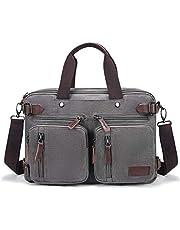 Fresion Schoudertas voor heren, laptoptas of schooltas - canvas vintage schoudertas veranderbaar in een rugzak, 14-15,6 inch laptop business tas voor werk kantoor schoudertas
