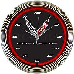 Corvette C8 Next Generation Red Neon Clock 15 Inch Diameter with Chrome Rim and Red Glass Tube - 8CORV8