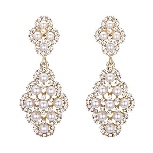 BriLove Wedding Bridal Clip On Earrings for Women Rhombus Crystal Simulated Pearl Hollow Chandelier Dangle Earrings Clear Gold-Toned ()