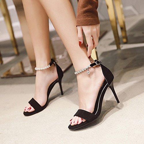 BAJIAN Alto Peep Verano Toe Zapatos Sandalias Bajos Chanclas Sandalias Zapatos señoras heelsWomen LI wOf6Twgq