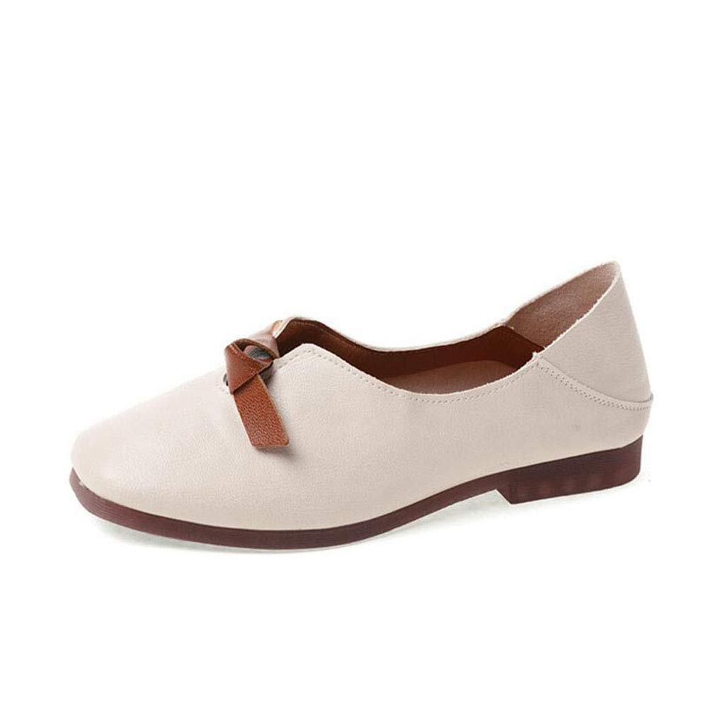 pophight Spring Autumn Shoes Woman Cow Leather Flats Women Slip On Womens Loafers Female Moccasins Shoe Large Size 35-43