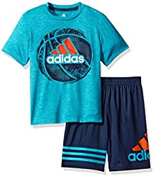 Adidas Toddler Boys\' Defender Short Set, Turquoise Heather, 4T