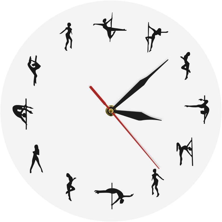 gjdm Relojes De Pared,Reloj De Pared Bailarines De Polo Diseño Minimalista Club Nocturno Moderno Sexy Chick Dancing Strippers Ative Reloj Regalo Blanco