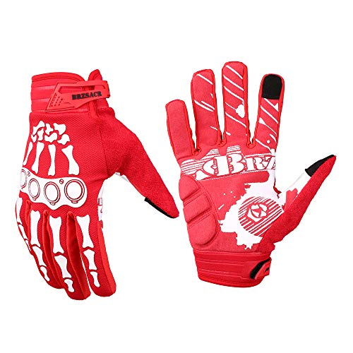 BRZSACR Unisex Bicycle Cycling Gloves Mountain Bike Gloves Dirt Bike Gloves Suitable for: Cycling, Climbing, Rock Climbing, Fishing, Racing and Other Outdoor Sports.(Red, XL)