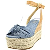 MICHAEL Michael Kors Womens Maxwell Cotton Open Toe, Washed Denim, Size 8.5