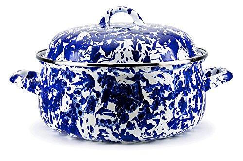 Enamelware -Colbalt Blue Swirl Pattern - 4 Quart Dutch Oven
