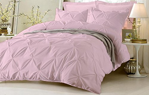 Pinch Pleated Duvet Cover With Zipper & Corner Ties 100% Egyptian Cotton 600 Thread Count Luxurious & Hypoallergenic Pintuck Decorative ( Queen/Full, Pink ) by Kotton Culture Pink And Brown Stripes