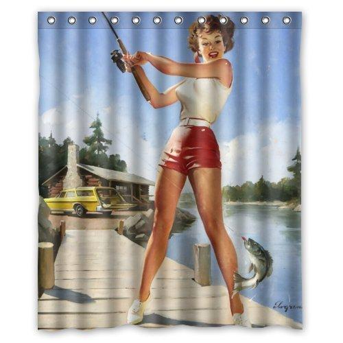Amercan Sexy Pin Up Girl Fishing Bathroom Shower Curtain