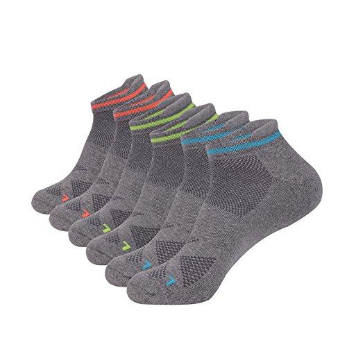 JOYNÉE Men's 6 Pack Athletic Cotton Breathable No Show Short Socks with Tab,Grey,Sock Size:10-13 (Seamless Tennis Short)