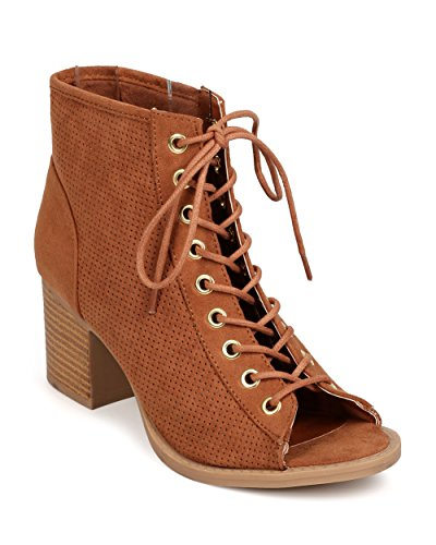 Qupid FK25 Women Faux Suede Peep Toe Lace Up Perforated Chunky Heel Bootie - Camel