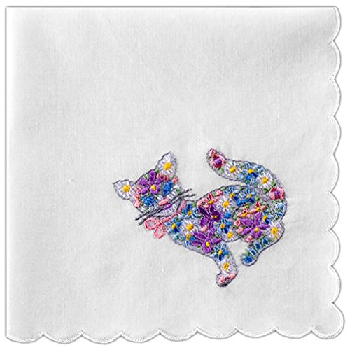 Women's Handkerchief Cotton White with Cat Embroidery and Scallop Edges (Pack of 2)