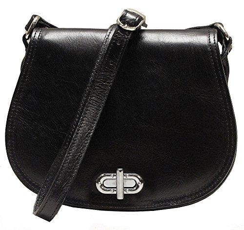 Floto Women's Saddle Bag in Black Italian Calfskin Leather - Handbag Shoulder Bag ()