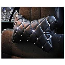 Crystal Leather Car Headrest Neck Cushion