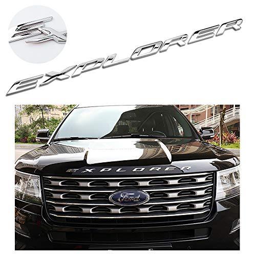 - 99 CarPro Explorer Front Hood Emblem Letters, 3D Metal Chrome Silver Emblem Badge Decal for Ford Explorer (Not Plastic)