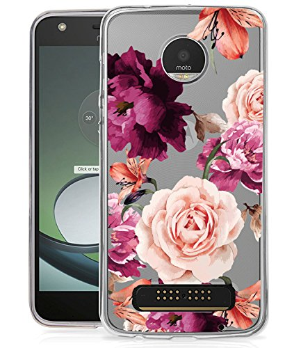 Moto Z2 PLAY Case, Moto Z2 FORCE Case with flowers BAISRKE Slim Shockproof Clear Floral Pattern Soft Flexible TPU Back Cove for Moto Z2 PLAY/Z2 FORCE [Purple Pink]