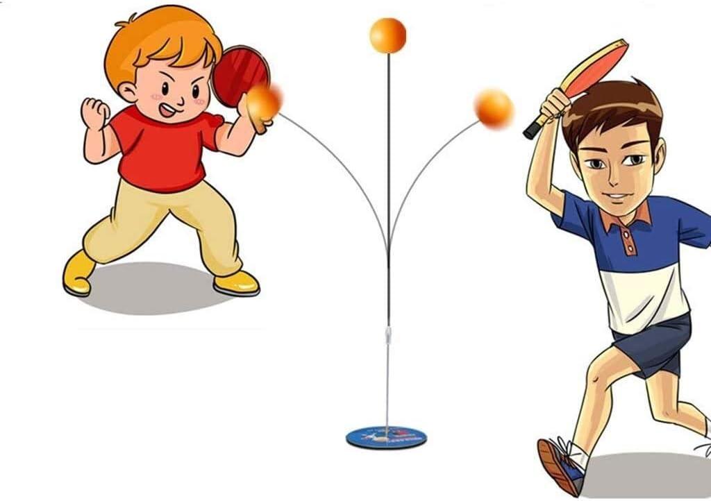 BBGSFDC A Granel Bolas de Ping-Pong paletas Conjunto Tabla de Formación Tenis elástico Suave de pozos y arquetas Bola Práctica Trainer Hijos Adultos Base de Madera de la Historieta con Dibujo